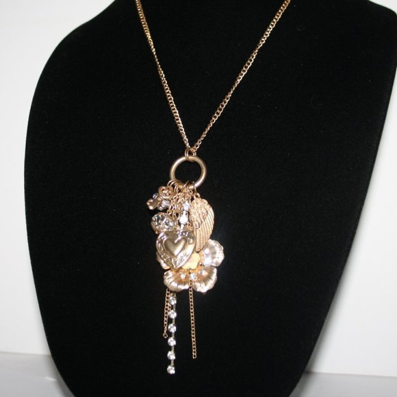 """Stunning gold charm necklace 28"""""""